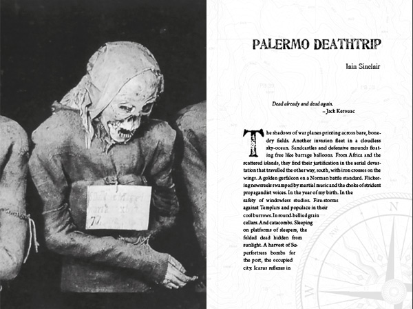Title spread for Iain Sinclair' Palermo Deathtrip