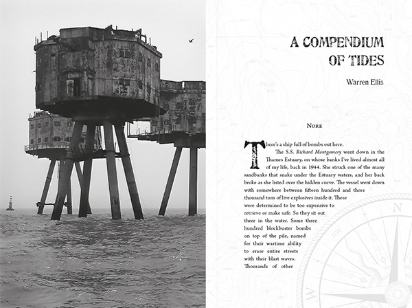 Title spread for Warren Ellis's A Compendium of Tides
